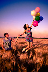 Leave all your worries here, we're not coming back. (bagirka's twilight) Tags: sunset summer sky love nature girl field hair logo freedom fly jump hands shoes couple dress tshirt we starbucks converse colored concept wonderland ballons emotive cofee happyness rounds