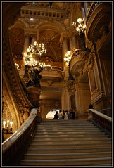 Opra De Paris Stairway (cleofysh) Tags: paris france stairs gold lights columns steps stairway chandelier balconies marble palaisgarnier opradeparis opranationaldeparis