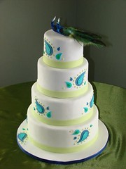 peacock wedding cake (sweetcakesbyrebecca) Tags: blue green modern teal unique peacock round lime paisley 4tier sweetcakesbyrebecca peacockweddingcake
