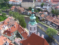 View from castle tower of the river, Cesky Krumlov