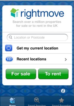 Rightmove app homepage