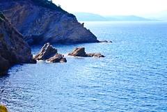 who said that rocks are not nice? (venetia koussia) Tags: blue seagulls swimming sundown geranium rockybeach sandybeach sporades skiathosisland summeringreece  greekfona