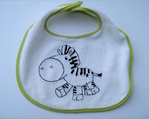 zebra baby bib