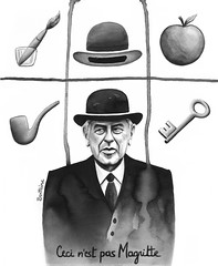 Ceci n'est pas Magritte (Ben Heine) Tags: brussels portrait newyork art apple hat sepia composition ink watercolor painting lost acrylic belgium surrealism smoke famous fineart traditionalart pipe suicide brush peinture master talent elements jockey chapeau painter oil mysterious popular pomme th