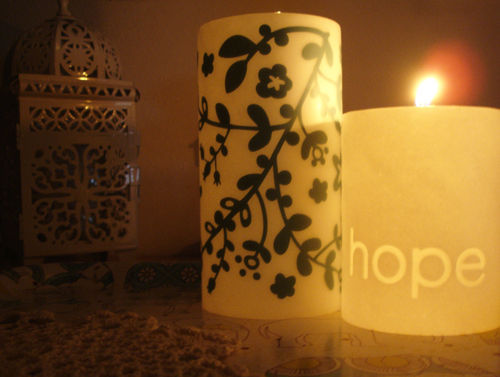 black & light candles.
