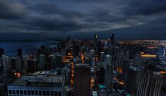 Gotham from above (kern.justin) Tags: city chicago skyline dark twilight nikon gloomy grim stormy hancock gotham chicagoist d700 kernjustin wwwthewindypixelcom