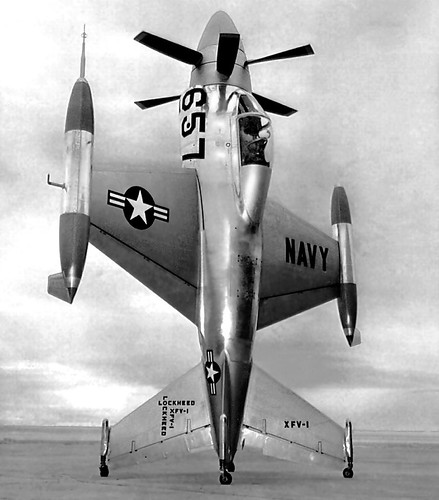 フリー画像|航空機/飛行機|軍用機|戦闘機|垂直離着陸戦闘機|XFV-1|モノクロ写真|フリー素材|