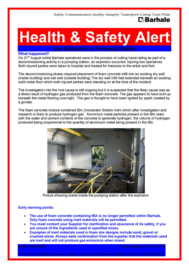 Safety Alert Gas Explosion Barhale