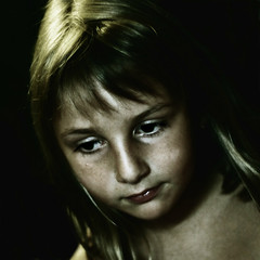 Bonjour Tristesse (Christine Lebrasseur) Tags: portrait people france art 6x6 girl canon sadness child emma onblack 500x500 allrightsreservedchristinelebrasseur