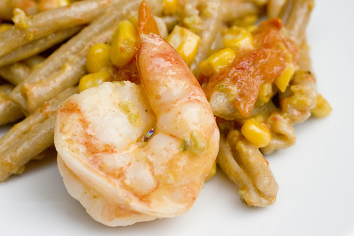 Shrimp Pasta with corn, roasted tomatoes, and poblano cream 7