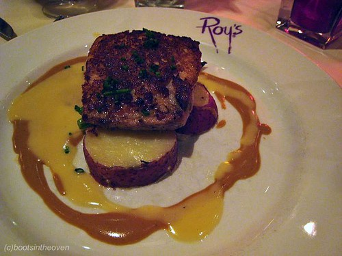 Roy's Classic Roasted Macadamia Nut Crusted Mahi Mahi, lobster-cognac cream sauce