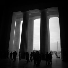 National Monuments (Mike Cialowicz) Tags: people blackandwhite bw monument architecture america square dc washington nikon memorial crowd columns 11 lincoln pillars bnw d90 1685