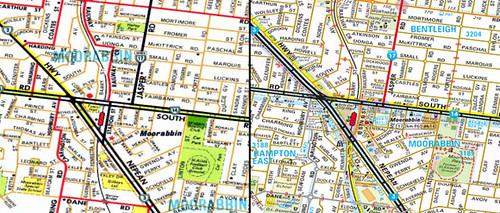 Moorabbin: Melway edition 1 vs now