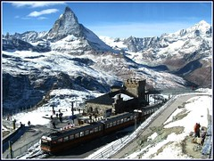 Top of the World, Switzerland Dressed in Snow (moonjazz) Tags: trip winter vacation people mountain snow alps wonder landscape photography switzerland big high pretty view earth top swiss glory tram peak grand best journey transportation matterhorn geography geology awe mighty highest