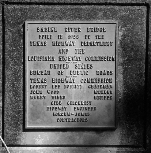 Bridge Plate, Sabine River Bridge, Hwy 12, Deweyville, Texas 1031091410BW
