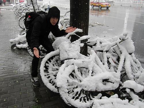 künstlicher Schnee in Peking