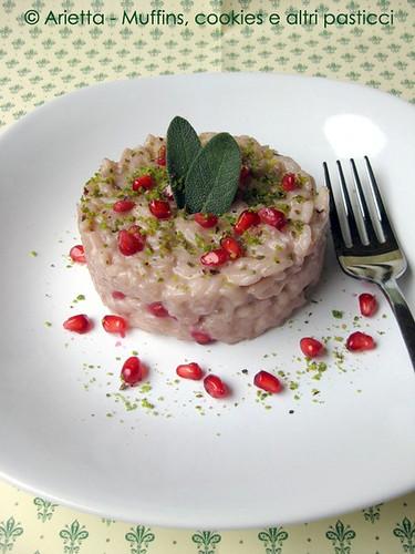 Risotto melagrana, caprino e pistacchi