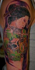 geisha (Billy Whaley Tattoo) Tags: man color tattoo skull idea dragon arm manly badass large geisha oriental custom backpiece pheonix