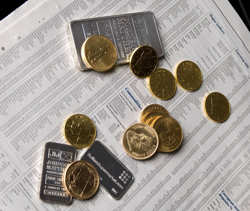 Gold and Silver Coins & Bars on Commodities Prices News Page