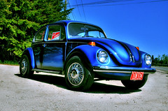 Blue Beetle (neuroxik) Tags: auto blue beautiful car bug volkswagen nikon automobile ride beetle bleu german hdr germancar sideoftheroad d60
