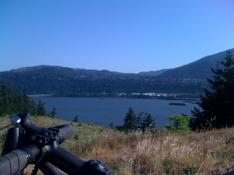 At the start of the trailhead, looking out over the Columbia Gorge.