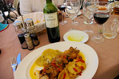 Lunch in Ronda (cwgoodroe) Tags: summer costa white hot sol beach del bells spain ancient europe churches sunny bull bullfighter adobe ronda moors walls washed clothesline protective newbridge roda bullring stonebridge oldbridge spainish whitehilltown rondah spanishdoors