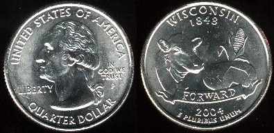 25 centov USA 2004 Wisconsin