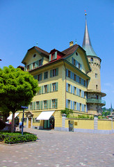 Lucern In Over Sat (cwgoodroe) Tags: sun mountain lake snow alps green church statue ferry fairytale swimming switzerland boat europe locals suisse swiss sunny location farms movieset luce swissalps lucern medivil beerpasture