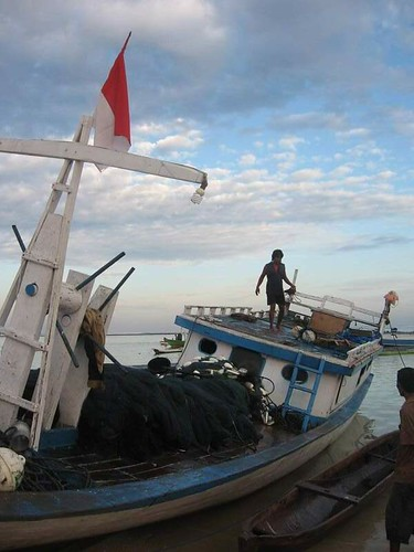 Fishing boat of the Ndao island stop by for fish transaction at Nemberala beach Rote island, East Nusa Tenggara