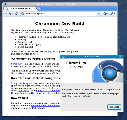 Chromium running on Fedora 11