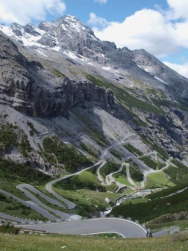 Italy, Stelvio pass, road going down to Bormio