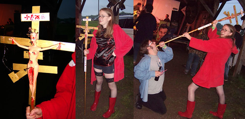 20090703 - X-Day - GEDC0267-GEDC0268-GEDC0269 (triptych) - un-costume ball - Pantiara & her Dobbsicon crucified doll, Lord Cyclohexane eats it - please click through to leave a comment on FlickR