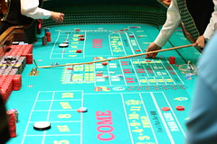 A craps table, but not the one I played at. (This is a screenshot from a casino website. I don't recall which one.)