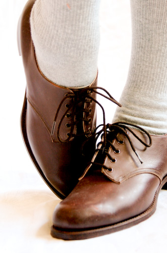 VINTAGE 70s brown leather BROGUES OXFORDS lace-ups 6 - 07