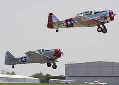 Texans Taking-off (ravenscroft) Tags: canon fighter wwii 70300mm texan t6 snj t6texan 40d snjtexan canon40d readingpennsylvaniareading pawwiiweekendwwiiweekendwwiiairshowwwiiairshowairshowworldwariimidatlanticairmuseumaviationaircraftairplane