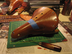 The first cut. (.Kara.) Tags: leather carving saddles brooks karaginther