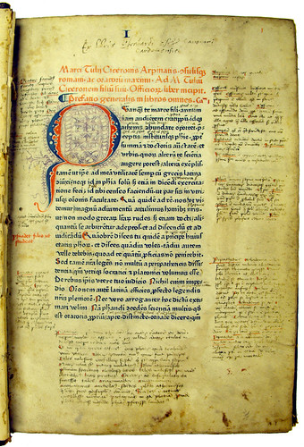 Decorated initial and annotations in Cicero: De officiis