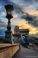 Budapest, Hungary :: Szchenyi Chain Bridge (-yury-) Tags: bridge sunset sky hungary budapest chain este duna danube hdr hd magyarorszg lnchd szchenyi mywinners abigfave oroszln  anawesomeshot ultimateshot