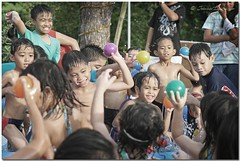 Ball Fight!  Boys vs. Girls (JoLiz) Tags: birthday girls party boys pool swimming swim ball children fight little inflatable pk throw kiddie pinoykodakero