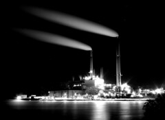 Power at Mount Storm (J Blough 2.0) Tags: longexposure blackandwhite bw lake water night steam wv westvirginia powerstation mountstorm pentaxk10d