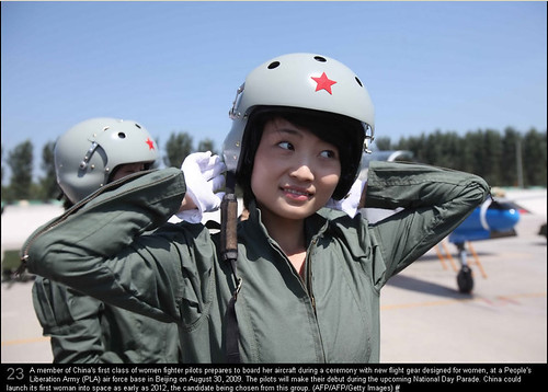 A member of China's first class of women fighter pilots