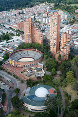Bogota Arena and Surroundings (Tijs Zwinkels) Tags: park travel urban building travelling tourism buildings colombia bogota cityscape structure arena bullfight 2009 sciencecenter