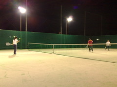 playing tennis at night