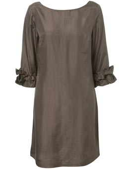Topshop taupe silk dress