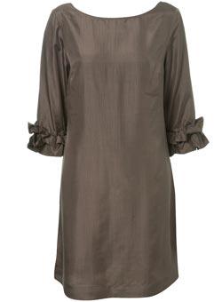 Topshop taupe silk dress