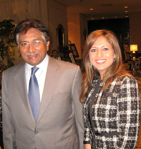 Miss Pakistan with Pervez Musharraf