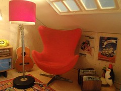 Vespa posters and Arne Jacobsen egg chair