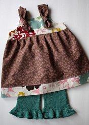 Harvest Girl set - ruffled capris & knot dress - medium