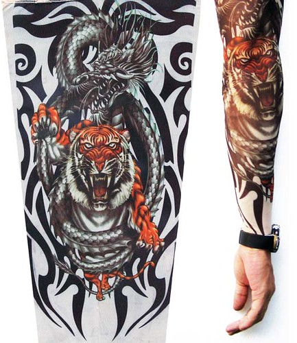 A fierce tiger within a tribal tattoo art.