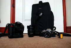 My Equipment (May 2011) (Jamie Denton Photos) Tags: camera 50mm equipment nikkor f18 1870mm olympusom10 lowepro blackandwhitefilm nikond200 omsystem flipside300